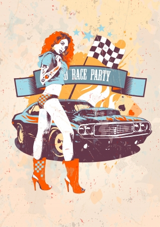 and with posters: Motor race party retro design template with fashion girl and vintage car.