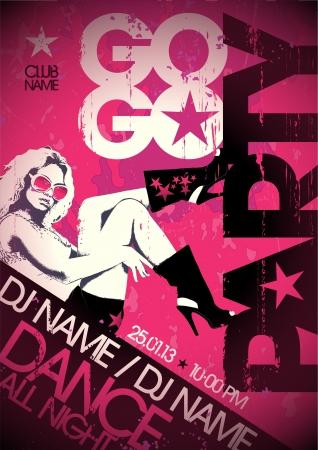 gogo girl: Go-go party design Vorlage mit der Mode M?dchen und Platz f?r Text.