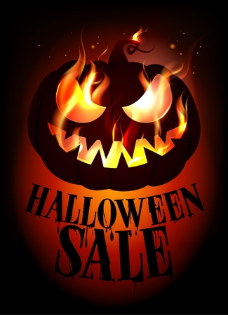 Halloween sale design with burning pumpkin. Vector