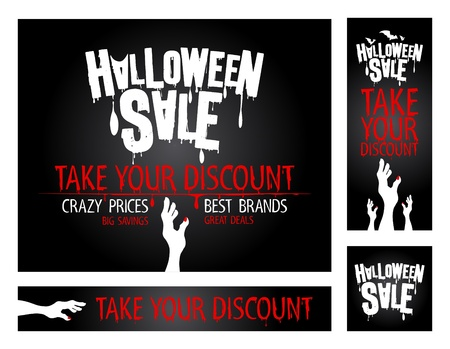Halloween sale banners collection. Vector