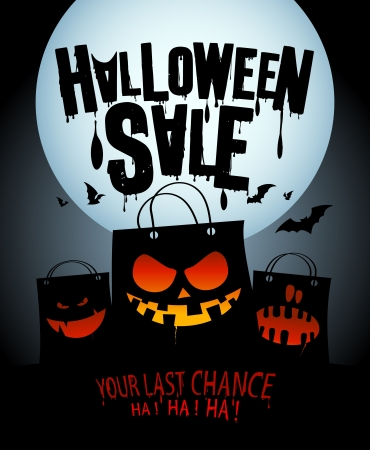 Awesome Halloween Sale Design With Scary Bags. Illustration