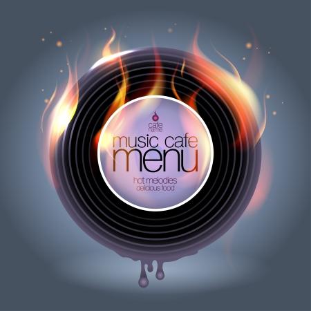 Music Cafe Menukaart ontwerpsjabloon. Vector Illustratie