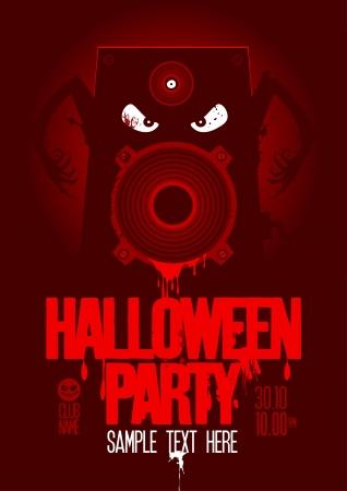 halloween party: Halloween Party Design template, met boze bloedige luidspreker en plaats voor tekst.