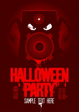 halloween decoration: Halloween Party Design template, with wicked bloody speaker and place for text.