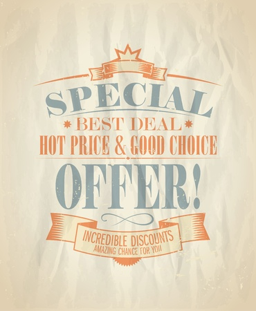 sertificate: Special offer, incredible discounts design template in retro style. Illustration