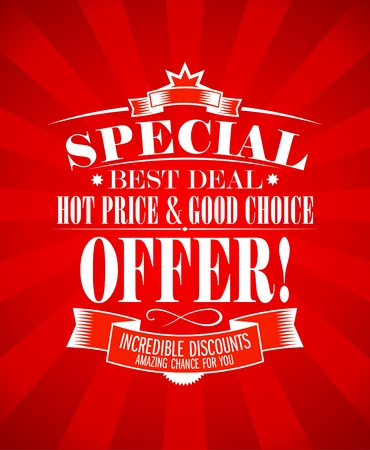 incredible: Best deal, special offer design template.