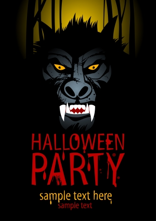 Halloween Party Design template with werewolf. Vector