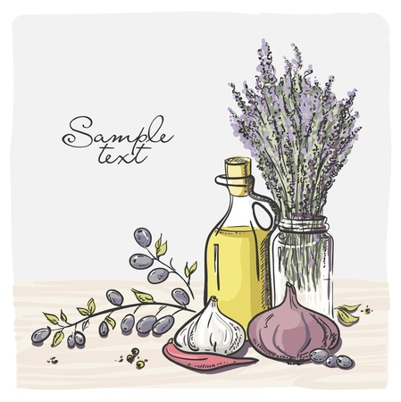market gardening: Branch with olives and a bottle of olive oil with vegetables   Illustration