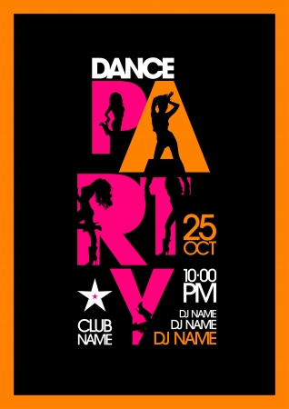 Dance party design template with fashion girls silhouettes. Vector
