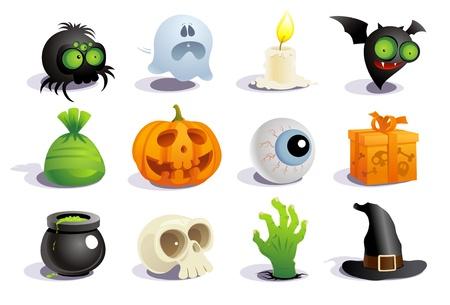 calabazas de halloween: Colecci�n de s�mbolos de Halloween.