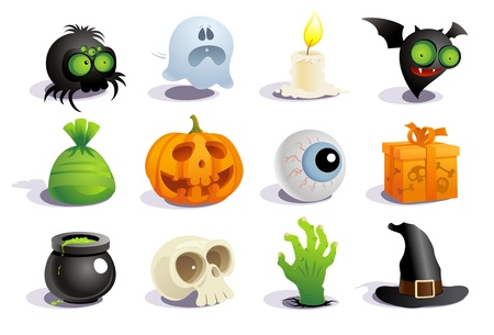 spider cartoon: Halloween symbols collection. Illustration
