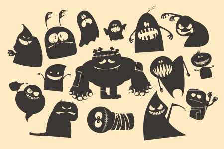 Halloween ghosts characters. Vector