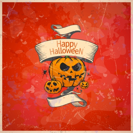 Halloween card with a pumpkins, retro style. Eps10. Illustration