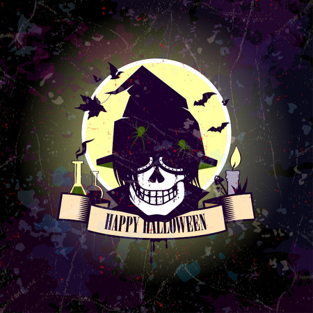 Halloween card with skull witch. Eps10. Vector