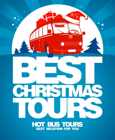 Best Christmas tours design template. Vector