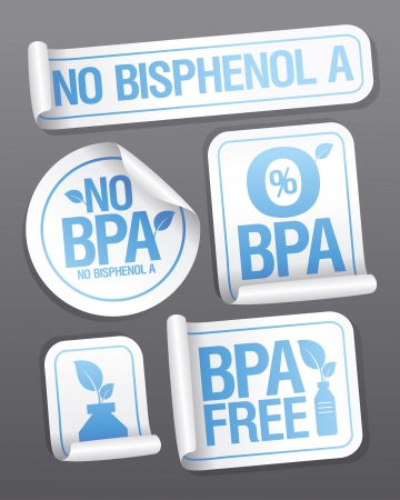 Bisphenol A (BPA) free products stickers set. Stock Vector - 22300468
