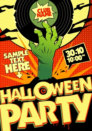Halloween party design in pop-art style. Vector