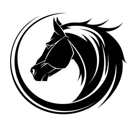 pretty pony: Horse circle tribal tattoo art. Illustration