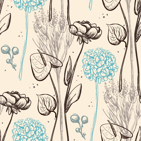 Vintage flower seamless pattern. Vector