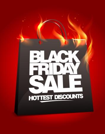 noir: Black Friday vente conception Fiery avec sac à provisions. Eps10.