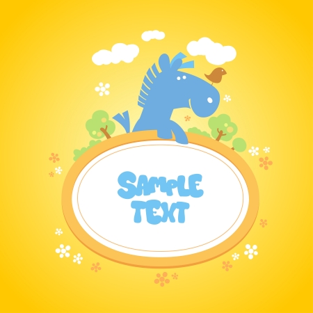 Baby frame with funny horse and bird. Vector