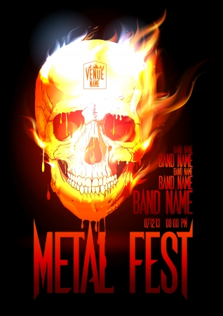 Metal fest design template with skull in flames and place for text. Eps10 Vector