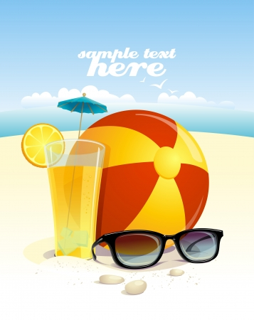 beach ball: Beach background with sun glasses, beach ball and fruit cocktail with place for text. Eps10 Illustration