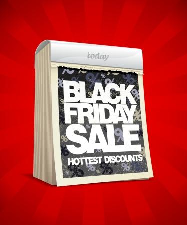 Black friday sale design in form of tear-off calendar. Eps10