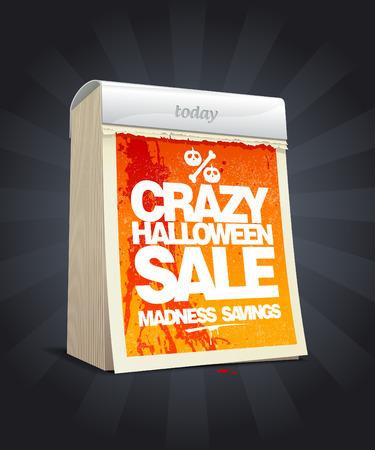 Crazy halloween sale design in form of tear-off calendar  Eps10 Illustration