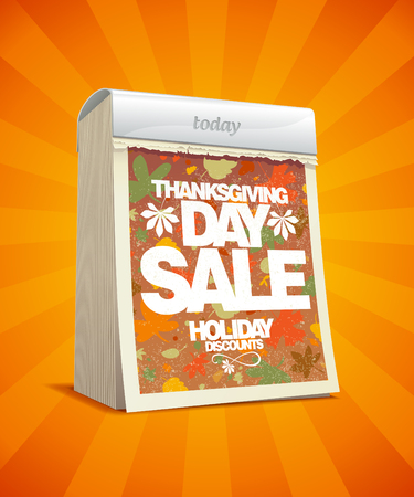 Thanksgiving day sale design in form of tear-off calendar  Eps10 Vector