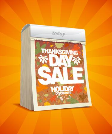 off day: Thanksgiving day sale design in form of tear-off calendar  Eps10 Illustration