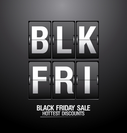 Black friday sale, analog flip clock design  Vector