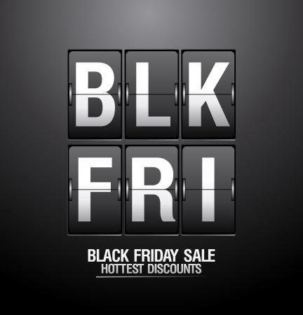 preto: Preto venda sexta-feira, design flip clock analógico Ilustração