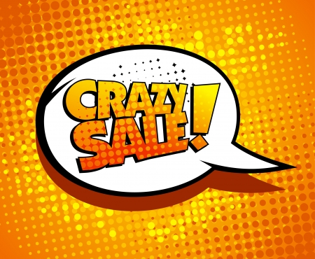 Crazy sale bubble talk in pop-art style  Иллюстрация