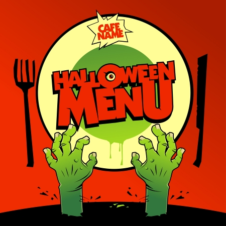 Halloween menu card design with zombie hands  Vector