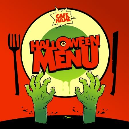 intertainment: Halloween menu card design with zombie hands  Illustration