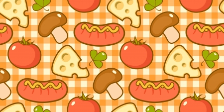 Pattern with sausages, mushrooms, cheese and tomatoes  Vector