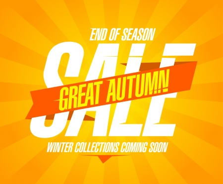 Great autumn sale design in retro style  Vector
