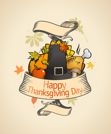 Thanksgiving design in retro style with ribbon and  traditional stuffs  Eps10 Vector