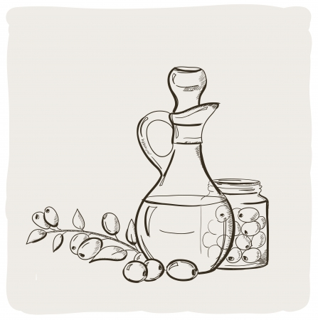 Sketch of branch with olives and a bottle of olive oil  Vector