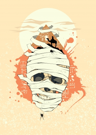 drover: Egyptian design with mummy skull  Illustration