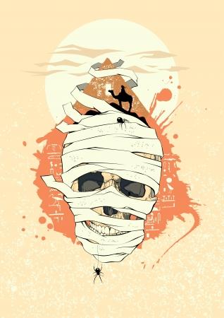drover: Egyptian design with mummy skull  Illustration