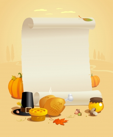 Thanksgiving design with paper roll against autumn landscape  Vector