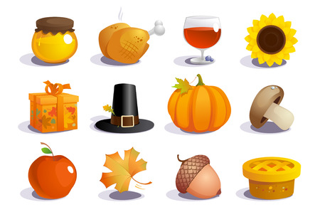Thanksgiving day symbols collection  Vector