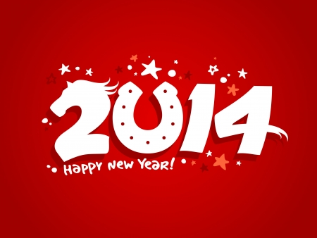 2014 new year design with horse. Vector