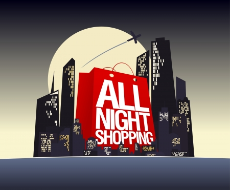 All night shopping design template. Vector