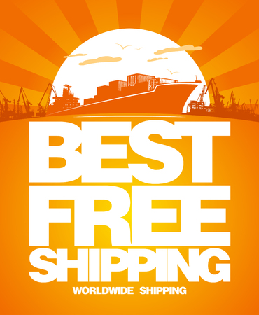 Best free shipping design template. Vector