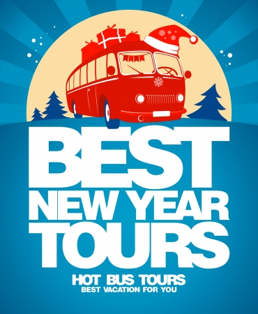 transportation travel: Best New Year tours design template.