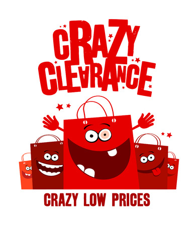 kid shopping: Crazy clearance illustration with shopping bags