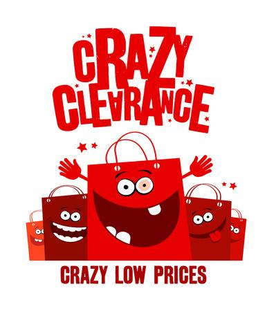 gente loca: Ilustraci�n liquidaci�n loca con bolsas de la compra